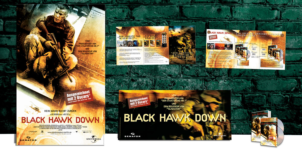 POS Material: Aufsteller, Crowner, News, DVD, Blu-ray für den Film: Black Hawk Down. Universal Pictures Germany